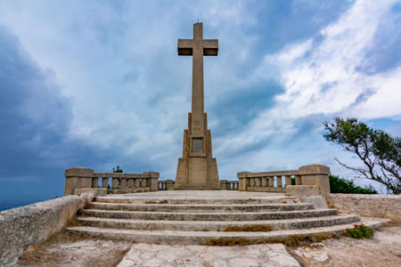 Cross on top of Sant Salvador mountain, Mallorca island, Spain