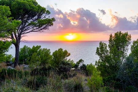 Sunset in Tramuntana mountains near Port Soller, western Mallorca, Spain