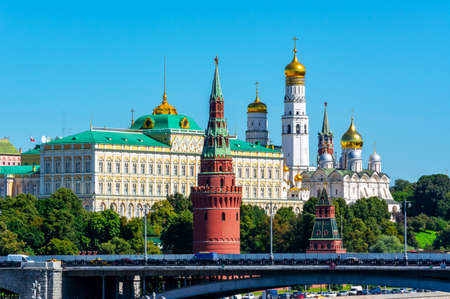 Moscow Kremlin with Grand Kremlin palace, Ivan the Great Bell tower and Spasskaya tower, Russia