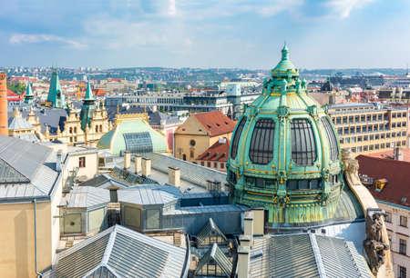 Municipal House (Obecni Dum) dome on Republic square, Prague, Czechia