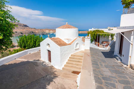 Small traditional church in Lindos, Rhodes island, Greece