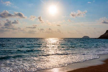 Sunset at Fourni beach on Rhodes island, Greece