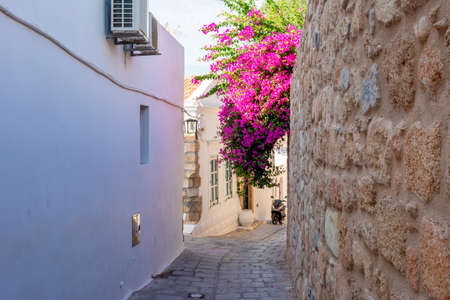 Narrow streets of Lindos old town, Rhodes island, Greece