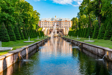 Grand Cascade of Peterhof Palace, Samson fountain and Fountain alley, Saint Petersburg, Russia