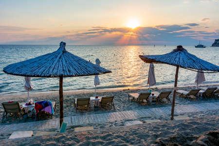 Sunset on Siviri beach, Kassandra peninsula, Chalkidiki, Greece