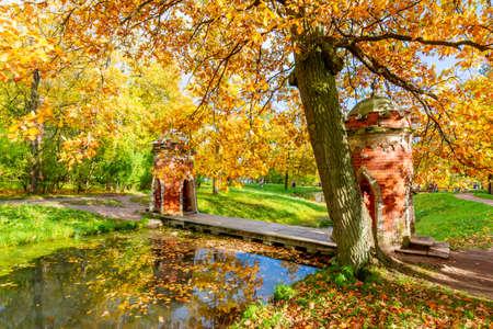Red (Turkish) Cascade in golden fall in Catherine park, Pushkin, Saint Petersburg, Russia