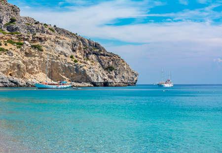 Traganou beach on Rhodes island, Greece Stockfoto