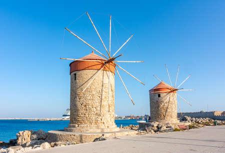 Windmills in Mandraki harbor, Rhodes island, Greece
