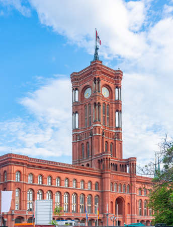 Red Town Hall (Rotes Rathaus) on Alexanderplatz square, Berlin, Germany