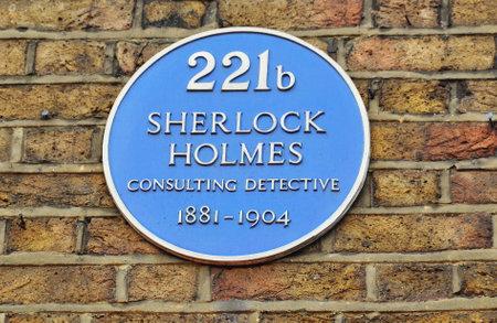 LONDON, UK - CIRCA APRIL 2017: Plate with Sherlock Holmes name on Baker street 221b