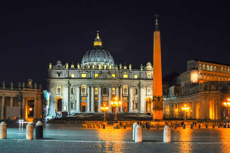 St. Peter's Cathedral on St. Peter's square in Vatican at night, center of Rome, Italy