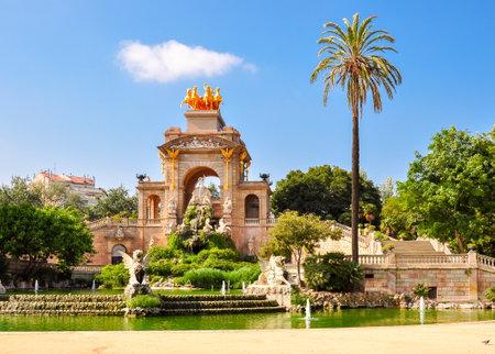 Cascade fountain in Ciutadella park on a sunny day, Barcelona, Spain