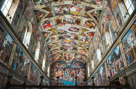 Vatican - May 2019: Sistine Chapel in Vatican museum Redactioneel