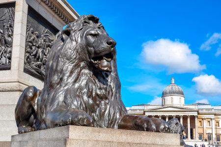 Trafalgar square lion at Nelson column, London, UK Redactioneel