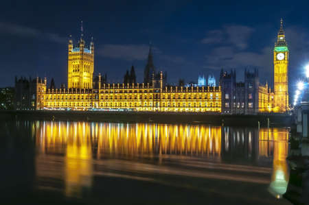 Big Ben tower and Houses of Parliament at night, London, UK