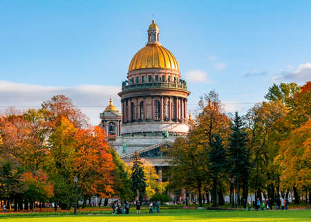 St. Isaac's Cathedral in autumn, Saint Petersburg, Russia