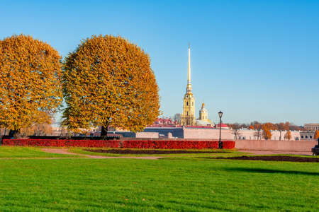 Peter and Paul Cathedral and Vasilyevsky island spit in autumn, Saint Petersburg, Russia