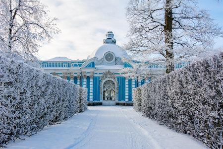Grotto pavilion in Catherine park in winter, Tsarskoe Selo (Pishkin), Saint Petersburg, Russia