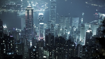 ifc: A night view of dense urban infrastructure in Hong Kong Stock Photo