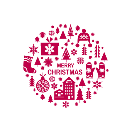 Template Christmas card in flat style. Merry Christmas, holiday background. Unique hand drawn design vector illustration. Stock fotó - 96043107