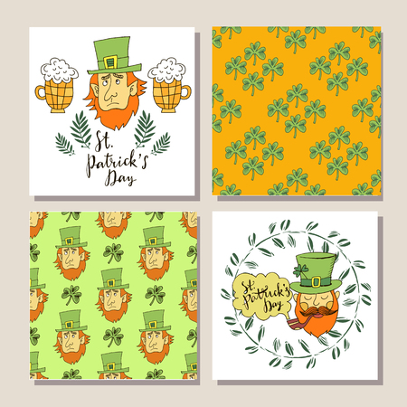 Happy  Patrick's Day. Template banner,  poster, invitation.Decorative pattern with   clover leafs on a wooden texture. Patrick's Day doodle  background.  Perfect for festive  design. Vector illustration.  イラスト・ベクター素材
