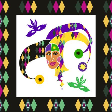 Beautiful decorative  template  poster  for carnival design. Funny  doodle harlequin.Festive multicolor background. Happy Mardi Gras.Perfect for carnival  backgrounds, banner, card, invitation.  Vector illustration. Ilustração