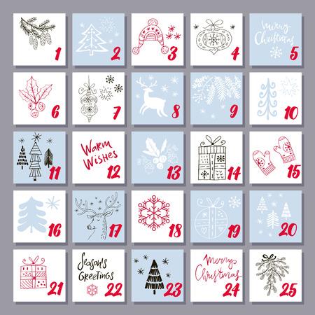 Świąteczny kalendarz adwentowy ze świętym Mikołajem, reniferem, jemiołą, drzewem, bałwanem i szablonem prezentu na plakat, baner. Ilustracje wektorowe