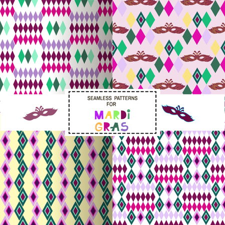 Set of decorative seamless pattern for carnival. Happy Mardi gras. Illustration