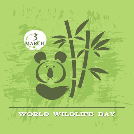 World Wildlife Day poster. Cute koala bear. Vector illustration.  イラスト・ベクター素材