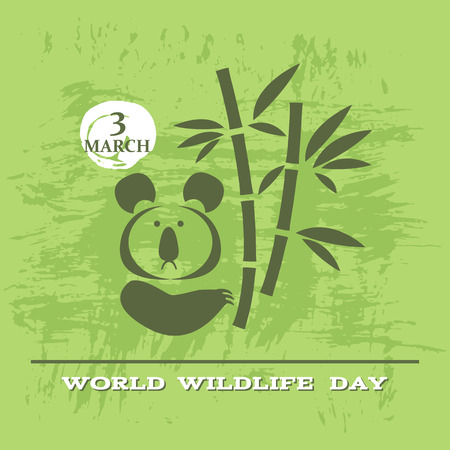 World Wildlife Day poster. Cute koala bear. Vector illustration. Vectores