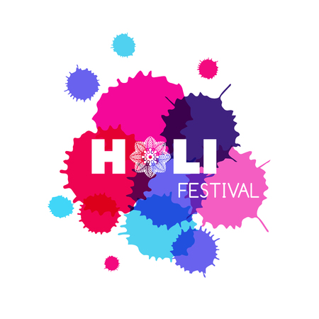 Traditional Indian festival Holi with colorful paint splashes on white background. Vector illustration. Illustration