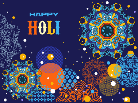 Happy Holi - festival of colors. Traditional Indian festival Holi. Template for festive banner, poster. Vector illustration.
