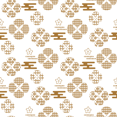 Beautiful japanese seamless pattern with asian elements and flowers. Vector unique seamless asian texture.