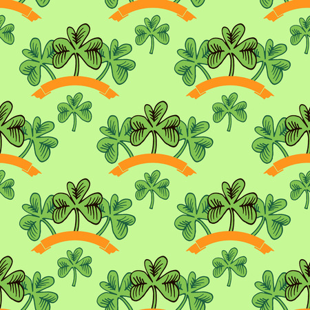 Decorative seamless pattern with clover leafs. St. Patricks Day greeting card. Vector illustration.