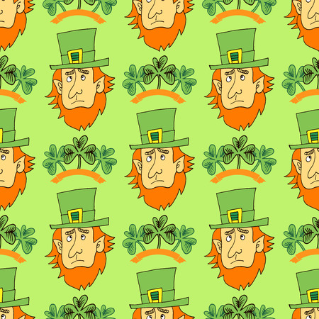 Decorative seamless pattern with clover leafs and leprechaun for St. Patricks Day Background.