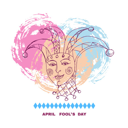 Vector illustration of April Fools Day. Vector festive calligraphy background with jester hat illustration.