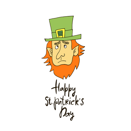 Happy  Patricks Day. St. Patricks Day greeting card.Character leprechaun with green hat, red beard. Patricks Day Background.Vector illustration. Ilustrace