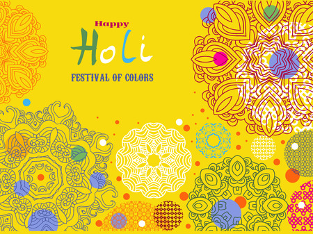Happy Holi - festival of colors.Traditional Indian festival Holi. Bengali New Year.Template for festive banner, poster. Holiday of spring.Vector illustration. Illustration