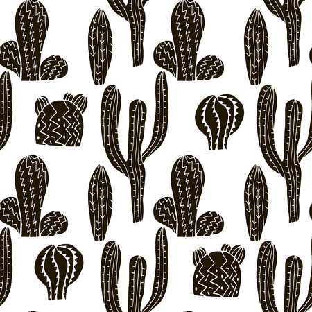 Awesome handdrawn seamless pattern  with cactuses.Unique doodle  texture.Vector illustration.