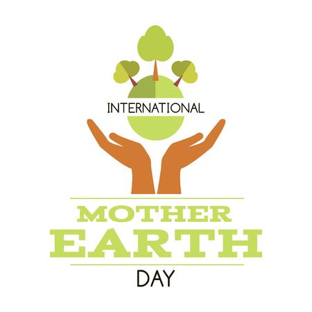 Internationale dag van de moeder aarde. Sjabloon poster, banner, briefkaart. Vector Illustratie