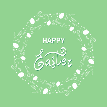 Colorful Happy Easter greeting card with egg and text in cartoon style.