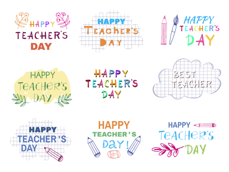 Happy Teacher's Day  poster design. Vector doodle quote .Vector illustration. Illustration