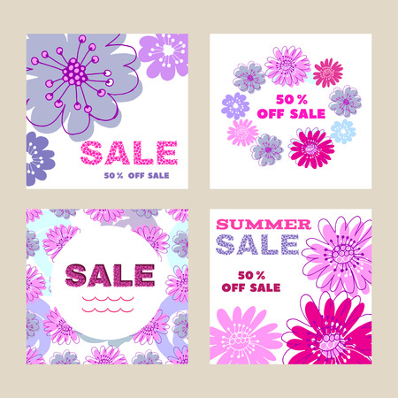 Template floral banner for sale promotion. Vector illustration.