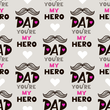 Decorative seamless pattern with mustaches,shoes and cylinder. Happy Fathers Day. Hand drawn unique funny background for textile, book covers, manufacturing, wallpapers, print, gift wrap and scrapbooking. Ilustração