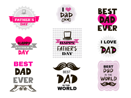 Happy Father's Day Big set elements for greeting cards, banners, t-shirt design. Happy father's day typography set. Vector illustration. Vectores