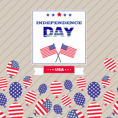 United Stated independence day greeting. Fourth of July typographic design.  Vector illustration. Vectores