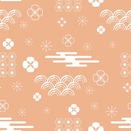 Dekoratives seeamloses Muster mit Wolken, Blumen, japanischen Elementen und Bambusbaum. Vektor nahtlose asiatische Textur.