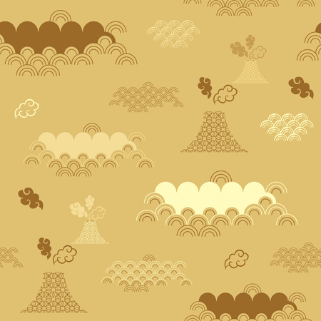 Decorative seamless tribal pattern with clouds, waves, japanese , chinese elements. Vector seamless asian texture. For printing on packaging, textiles, paper,book covers, manufacturing, wallpapers, print, gift wrap and scrapbooking.