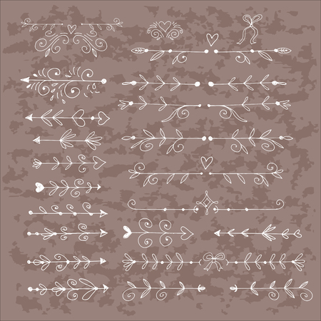 Set vintage decorative elements, frames, borders.Hand drawn texture elements set. Vector illustration