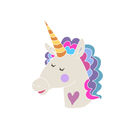 Hand drawn unicorn and star. Magic unicorn in cartoon style. Kids illustration for design prints, baby shower, cards and birthday invitations. Vector illustration.